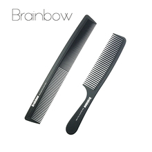 Brainbow 2pc Hair Combs Anti-static Carbon Hair Brushes Pro Salon Hair Styling Tools Hairdressing Hair Care Barbers Handle Brush