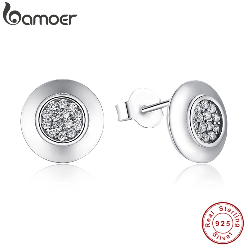 Authentic 925 Sterling Silver Signature Round Stud Earrings With Clear CZ Compatible with Original Jewelry PAS404Authentic 925 Sterling Silver Signature Round Stud Earrings With Clear CZ Compatible with Original Jewelry PAS404