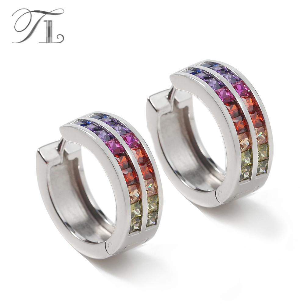 TL 925 Sterling Silver Hoop Earrings Inlaid Rainbow Zircon Fashion American Style Statement Earrings For Women Love Gift Earring tl love heart earrings for women stainless steel silver hot earrings simple design open cross earrings