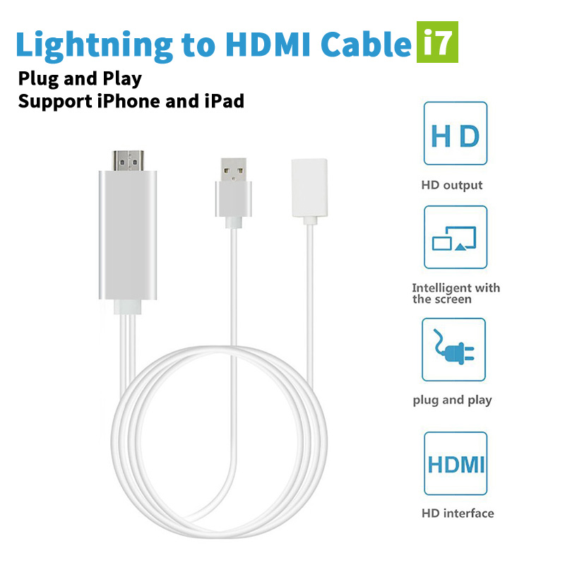 <font><b>8</b></font> Pin HDMI Cable For Apple Iphone 6 5s 5 7 6s Plus Fo iPad For Lighting Cable Adapter HDTV TV HD1080P Adapter HDMI Connector
