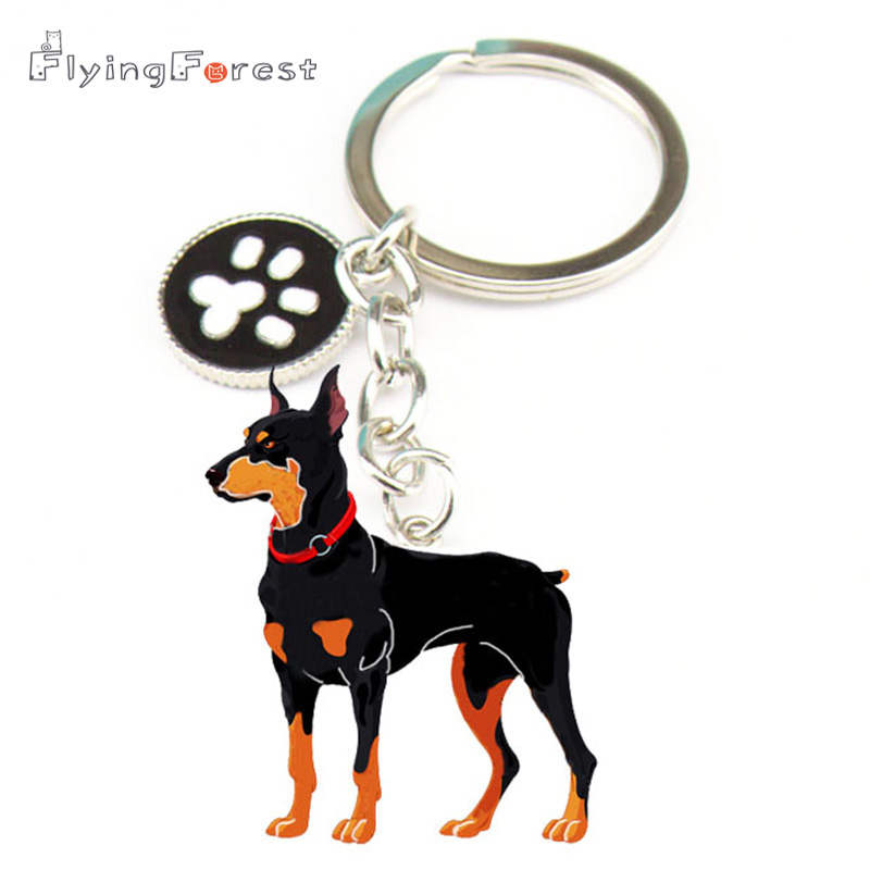 Dog Pet Wood Wooden Rectangle Key Chain Graphics and More Doberman Pinscher Red On Brown