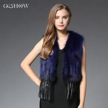 Fur V-neck Special Offer Vest 2018 New Standard Raccoon Gilet Waistcoat Natural Jacket Fashion Women Genuine Coats Wholesale