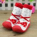 Corbata y arco niño calcetines con Suela De Goma antideslizante zapatos infantiles del niño del bebé calcetines del piso inferior suave XP3012