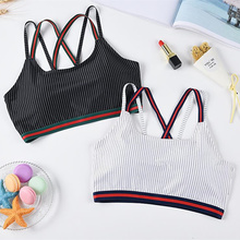 New One size Women Bra Sexy Lingerie Solid Vest Corset Push Up Seamless Wirefree Sleep With Removable Pads stripe white