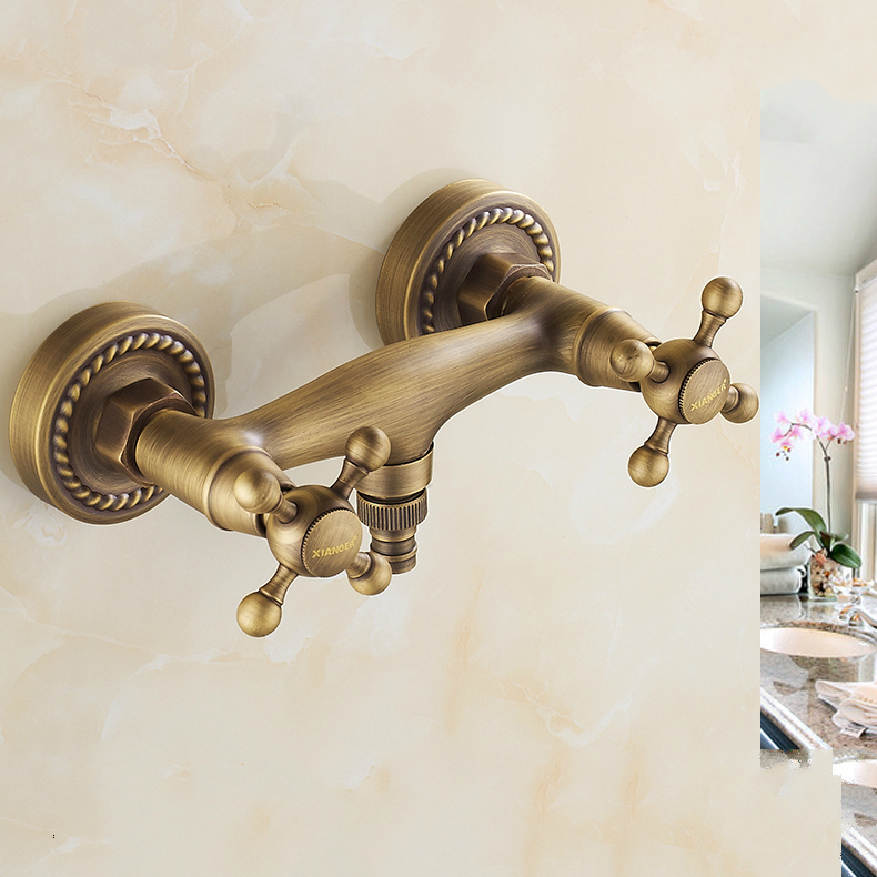 Antique Bronze Copper Washing Machine Hot And Cold Water Inlet Tap Brushed Water Mixing Wall Faucet Bathroom Accessories hr1 copper bathroom shelf basket soap dish copper storage holder silver