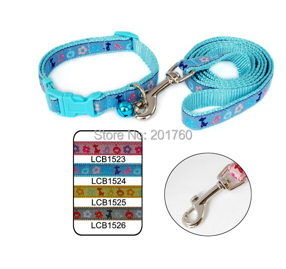 1.5cm Lively Flowers nylon woven Embroidered Dog Collar leads Leash Set (4 colors) 4pcs/lot Free shipping LCB1523