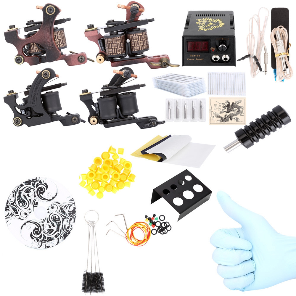 Solong Tattoo Brand Professional Complete Tattoo Kit Power Supply 2 Machine Guns Shader Liner Sets Wholesale professional tattoo kits liner and shader machines immortal ink needles sets power supply