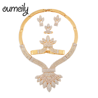 OUMEILY 2019 Dubai Gold Color Jewelry Sets For Women Big African Wedding Jewellery Set Luxury Crystal Bridal Jewelery Costume