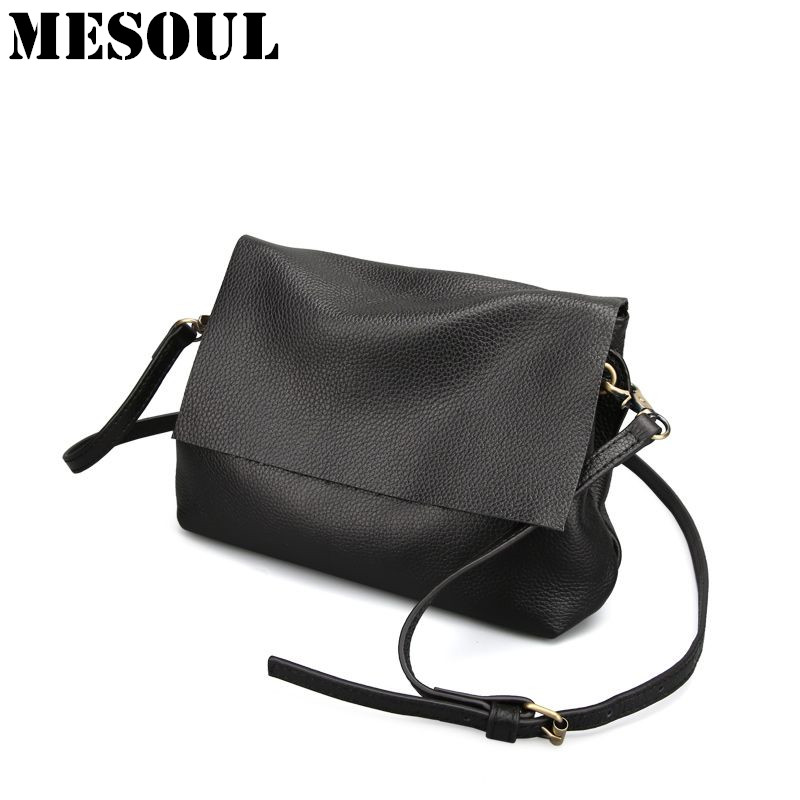 Soft Genuine Leather Shoulder Bags For Women 2017 Leisure Bag Cowhide Crossbody Bags Ladies Messenger Bag Designer Purse Satchel стоимость
