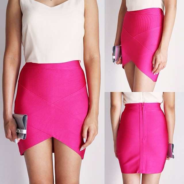Free Shipping Women Skirts Summer 2016 Fuchsia Elastic Mini Bandage Skrit 8 Colors Available