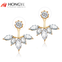 2017 Crystal Jewelry Ear Jacket Cute Earrings for Women Jewelry Double Sided Leaf Ear Women Earring