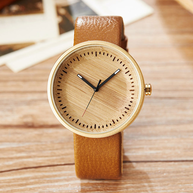Wood Watch Ladies Simple Design Small Bracelet Natural Wooden Wrist Watch Women Genuine Leather Unisex Quartz Minimalist Watch 2