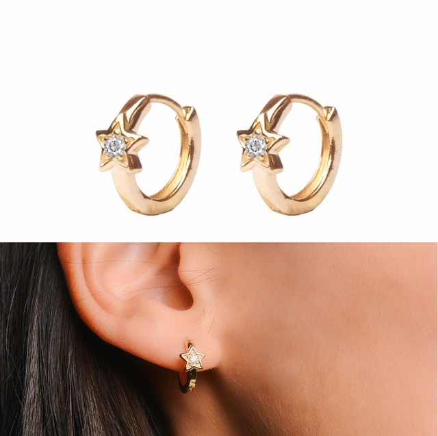 S925 Gold Color Hoop Earring With Five Pointed Star Flower Design Small Earrings Fine Jewelry