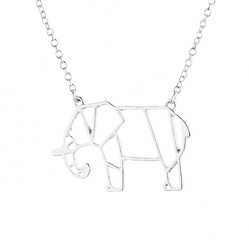 30pcs Cute Unique Animal Necklace Jewelry Gold Silver Origami Elephant Lucky Pendant For Lover In Chain Necklaces From