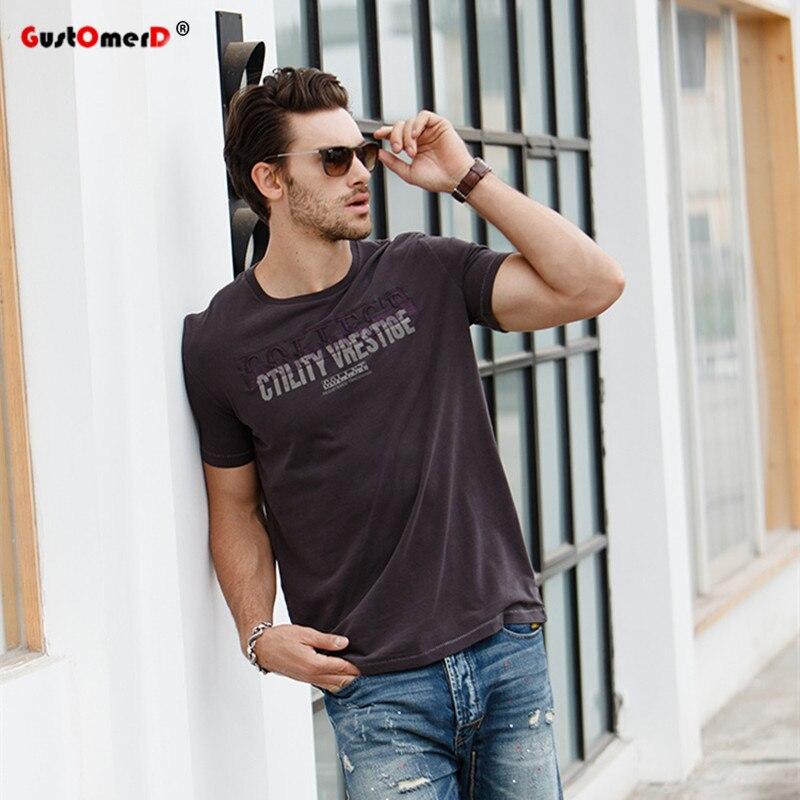 GustOmerD New Men Brand T Shirts Fashion Short Sleeve Slim Fit T Shirts Men Letter Printing Tops Men Cotton T Shirt