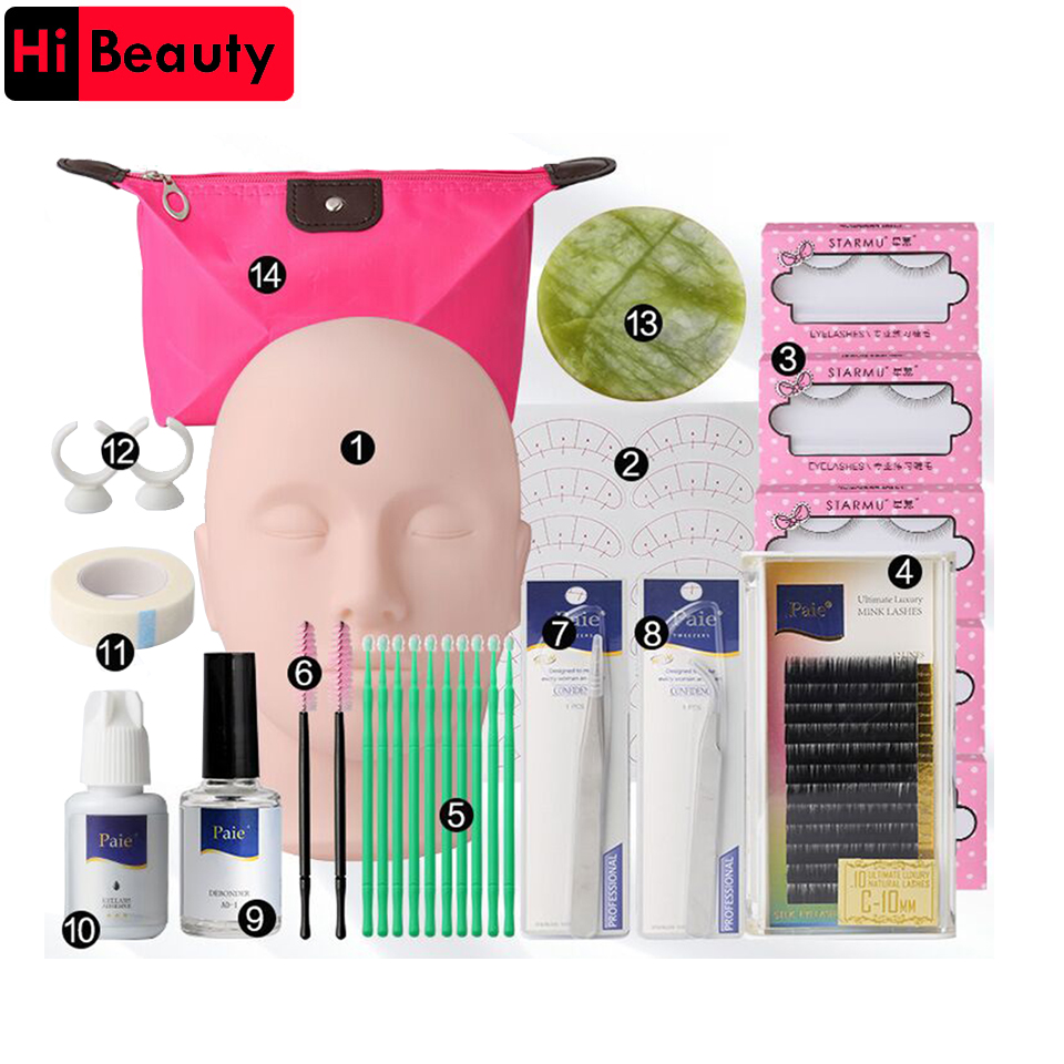14pcs Grafting Eyelash Extension Kits Set False Lashes Tool Flat Head Curl Glue With Bag For Makeup Practice Eye Lashes GrafT аркадий гайдар аркадий гайдар лучшие повести и рассказы