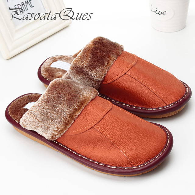 4440caa34a9b Real Leather Autumn Winter Men Women Shoes Faux Fur Indoor Breathable Home  House Spring Slippers Pasoataques Brand Asspfle096