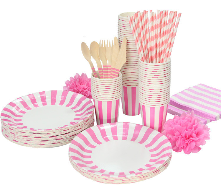 White u0026 Pink Stripe Party Tableware Birthday Party paper plate cups napkins paper straw Cutlery Set on Aliexpress.com | Alibaba Group  sc 1 st  AliExpress.com & White u0026 Pink Stripe Party Tableware Birthday Party paper plate cups ...