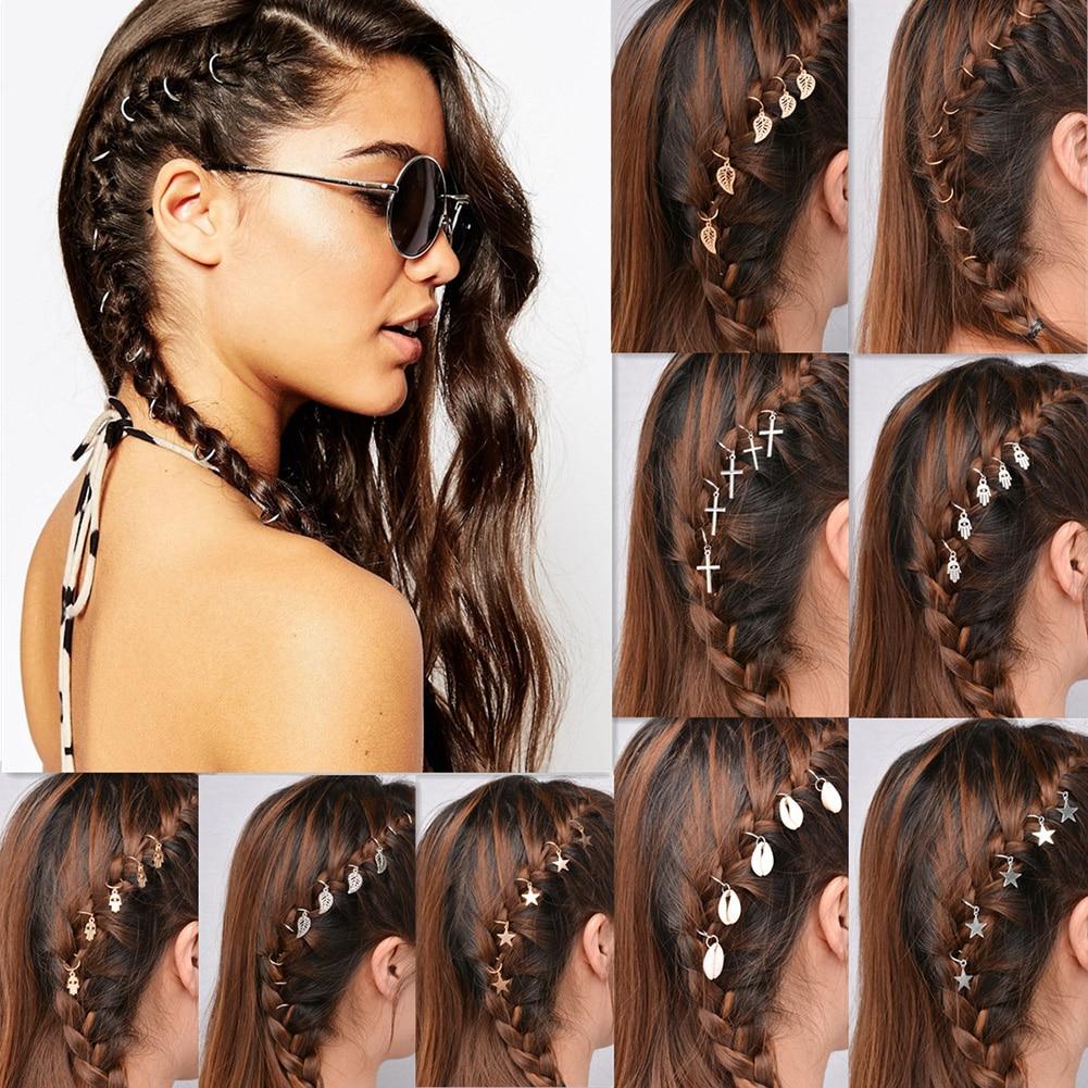 5-10Pc Women's Hip-Hop Braid Hand Cross Shell Star Ring Hair Clips Geometric Metal Circle Hairpins Gold Silver Hair Accessories