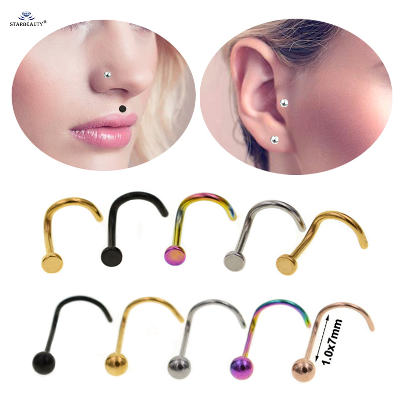 Starbeauty 2 Pcs Lot Curved Bar Nose Piercing Helix Tragus Labret