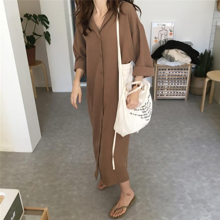 19 spring Autumn fashion female batwing sleeve solid shirt dress women blouses casual loose long big size shirts blusas 7