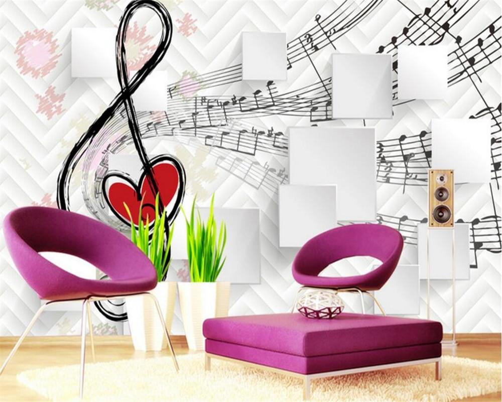 Beibehang Custom Personality 3D Wallpaper Notes 3D Music Box TV Background Wall Wallpaper For Walls 3 D Papel De Parede Tapeten