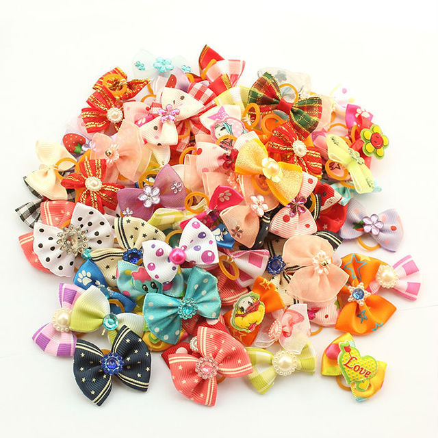 dreambows Most Lovely 20 Pcs Handmade Accessories For Pet Dogs Flower Little Bows 6011002 Dog Bow Grooming Supplies Wholesale