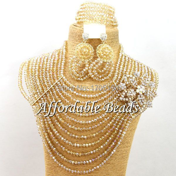 Gold African Beaded Jewelry Beautiful Costume African Jewelry Sets Free Shipping ABW085Gold African Beaded Jewelry Beautiful Costume African Jewelry Sets Free Shipping ABW085