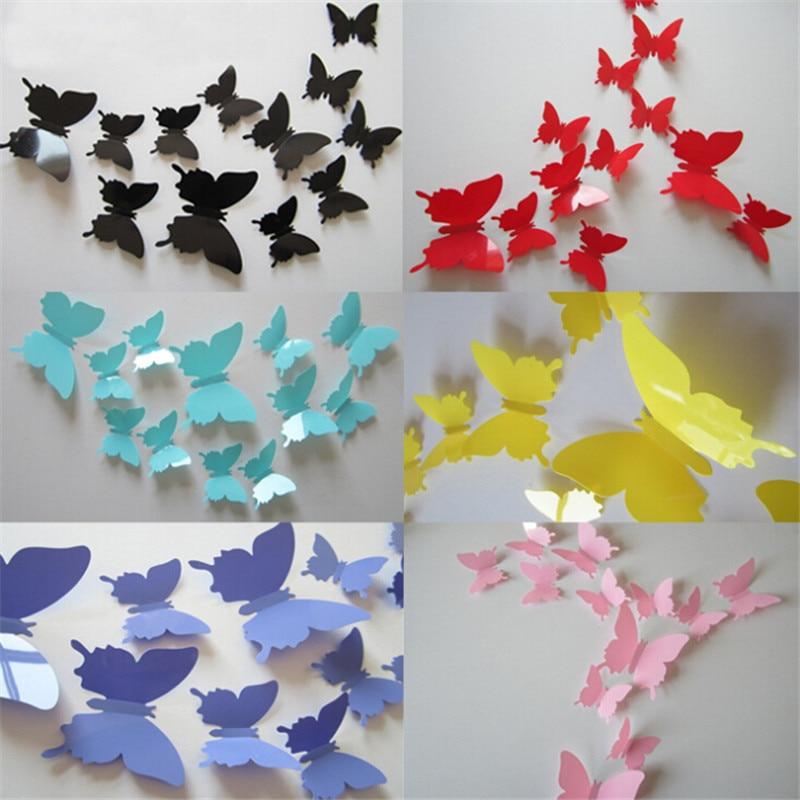 24Pcs/Lot 3D Butterfly Wall Sticker for Home Decor DIY Butterflies Fridge stickers Room Decoration Party Wedding Decor