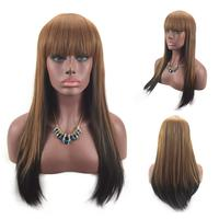 Women Long Yellow Brown Front Straight Hairstyle Synthetic Hair Wigs For Brown Wig Aug 29