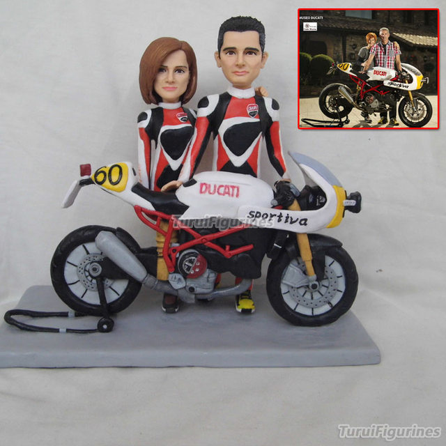 Ooak Polymer Clay Motorbike Wedding Anniversary Cake Topper Decoration Personalised Harley Davidson Gift Idea Chrismas