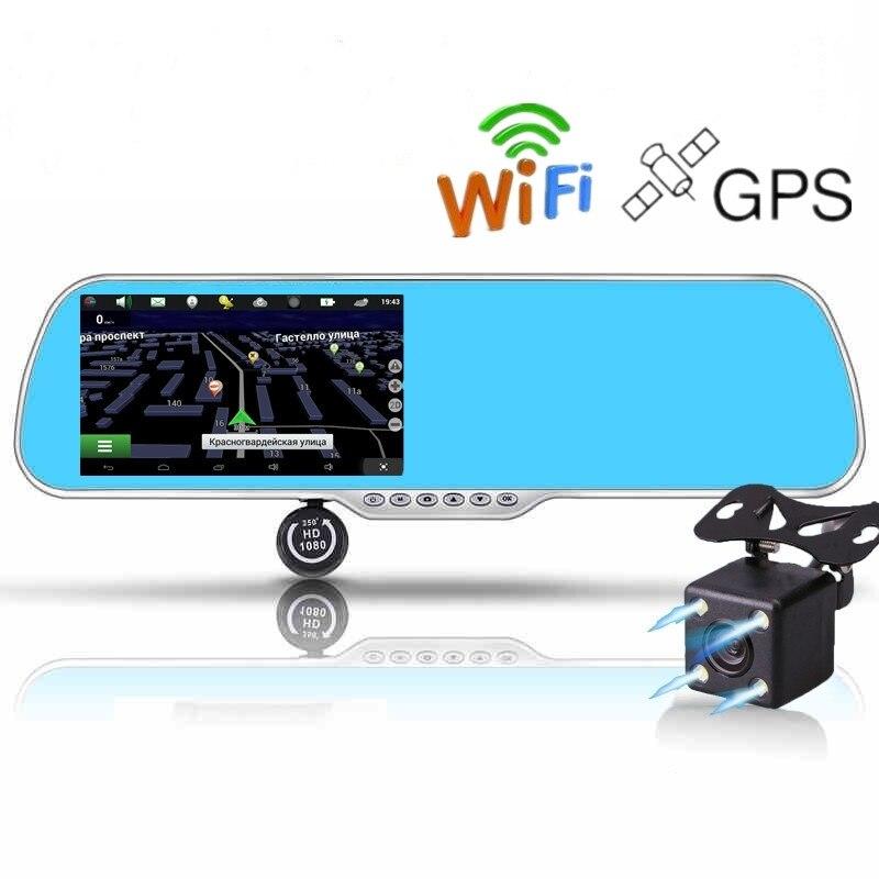 Car DVR Car-Camera Video-Recorder Parking-Rearview-Mirror-Camera Gps Navigation Wifi