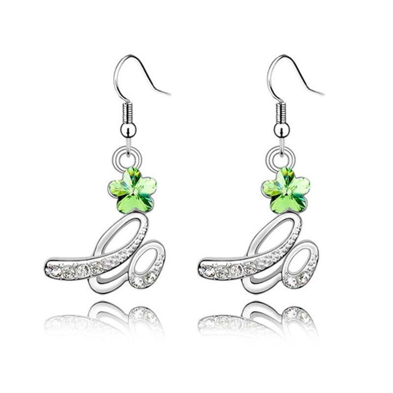 Silver Rhinestone Flower Bridal Earrings 5