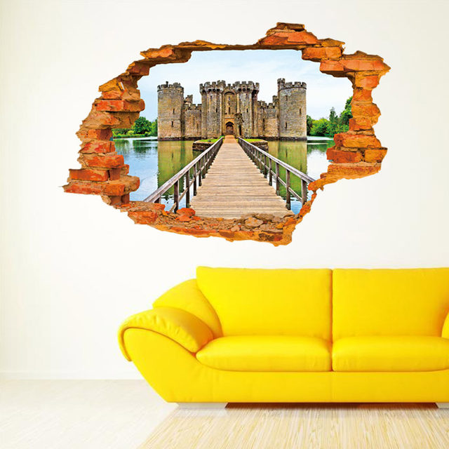 Online Shop 3D Break Cracked Wall View The Bridge to the Old Castle ...