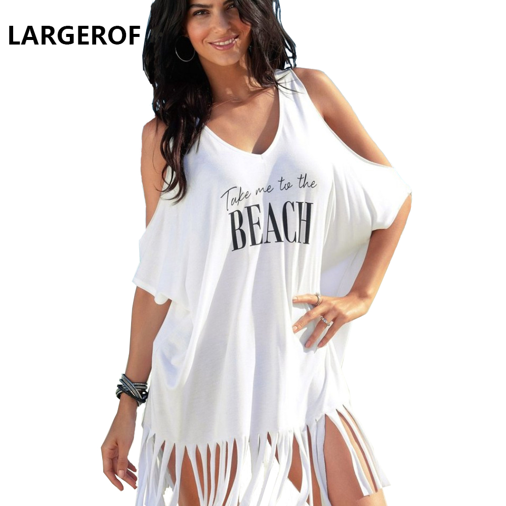 Beach Cover Up Women's Swimsuits Beach Dress Woman Tassel Letter Robe De Plage Swimsuits Women Summer 2018 BK35095 купить дешево онлайн