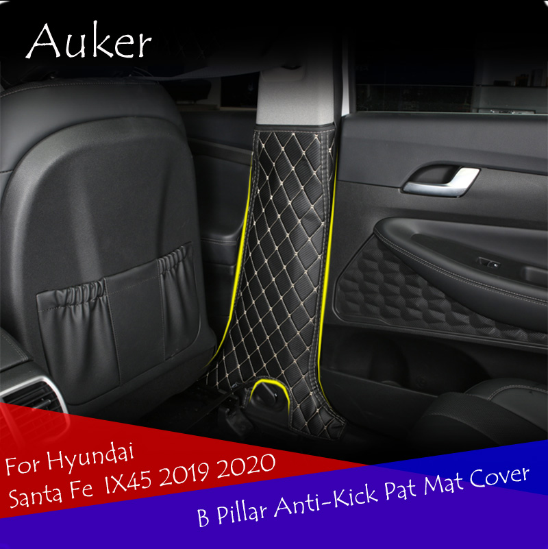 Car Styling B Pillar Anti-Kick Pat Mat Cover Stickers Interior Decoration 2Pcs/Set For Hyundai Santa Fe IX45 4TH 2019 2020