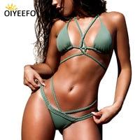 Oiyeefo 14 Colors Criss Cross Strappy Halter Bikini Brazilian Crochet Bandage Swimsuit Wrap Plavky Lace Up