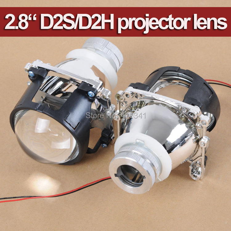 Free Shipping 2.8 Inches Bi-xenon Projector Lens D2S D2H Bulb Socket H4 Headlamp Easy Install Mini Projector Lens LHD 2 5 mini bi xenon projector lens can use with d2s d2h hid xenon bulb for h4 car headlamp easy install