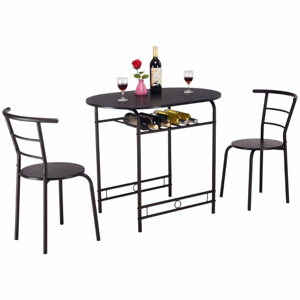 Giantex 3 шт обеденный комплект стол и 2 стула домашняя кухня бистро паб мебель HW57334