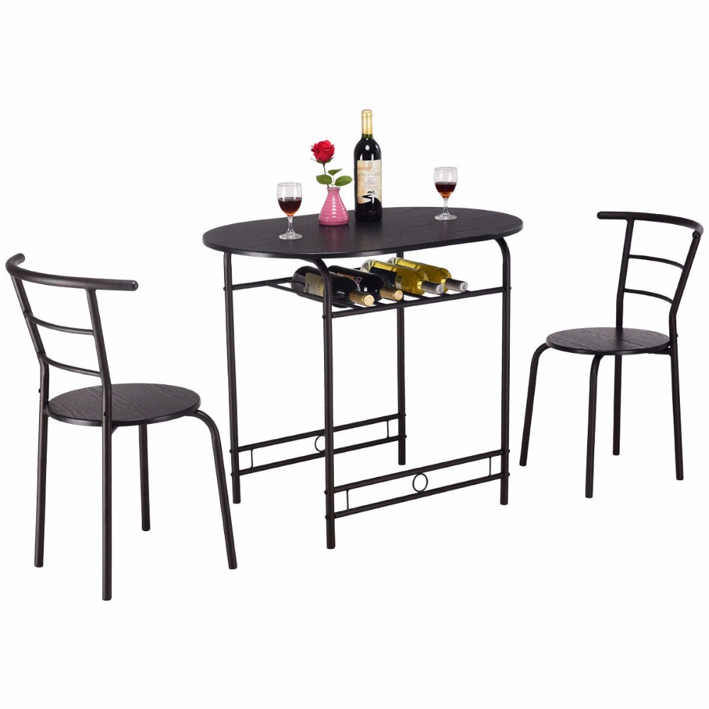 Giantex 3 PCS Dining Set Table and 2 Chairs Home Kitchen Breakfast Bistro Pub Furniture HW57334