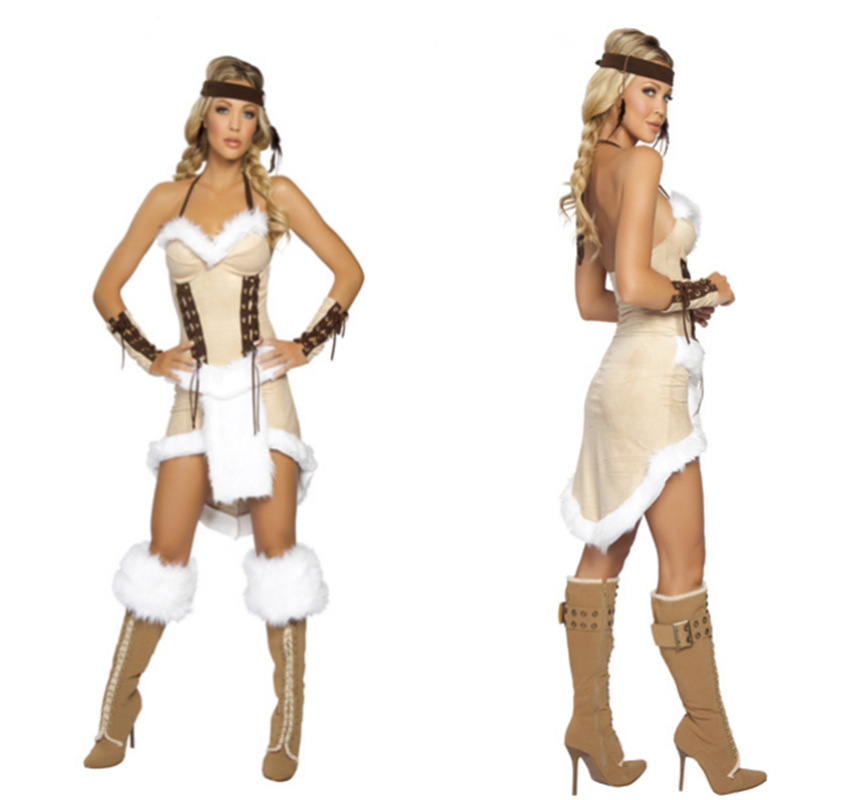 85b807a1caf0 Party carnival Halloween Costume Indian Cosplay role-playing Costume tassel  party show game carniva dress+headwear+bangle