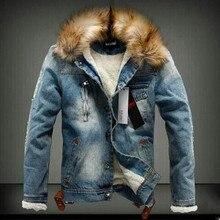2016 neue Wintermode Männer Woolen Jeansjacke mit pelz kragen Oversize Lässige Jeans Jacke Plus Größe Samt Outwear Mantel 4XL