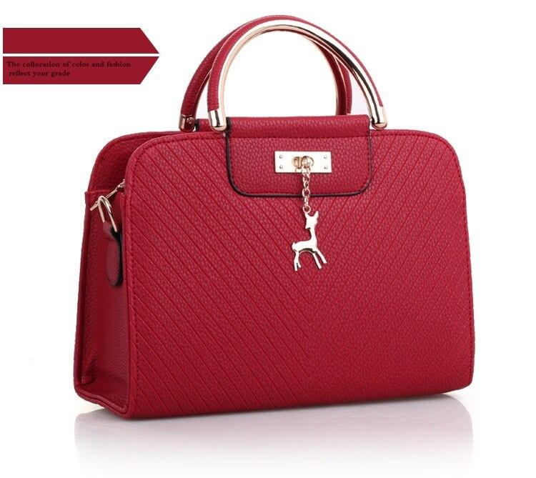 Hot Sale New Fashion Solid Color Women Messenger Shoulder Handbag Metal Top-handle Crossbody Hand Bag PU Leather Ladies Tote