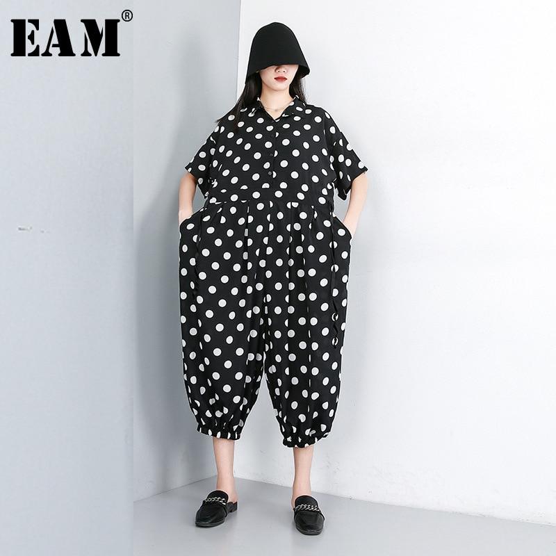 [EAM] 2020 New Spring Autumn High Waist Pocket Stitch Loose Dot Printed Wide Leg Pants Women Jumpsuit  Fashion Tide JW582