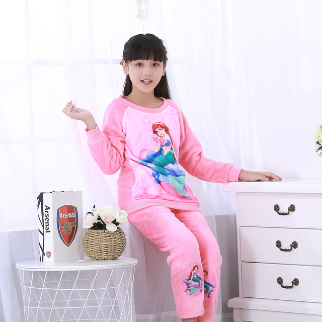 fdb377e4eb Girls Pajamas Sets Warm Thicken Autumn Winter Cute Flannel Pijamas Mujer Children  Coral Fleece Cartoon Pajamas For Kids Clothing