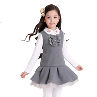 Girls Dress Winter Children S School Clothes Kids Vest Draped Silm A Line Preppy Style For