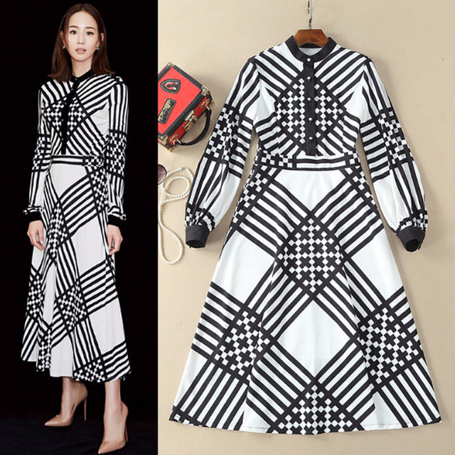 2018 Spring Autumn Women Long Sleeve Black White Contrast Color