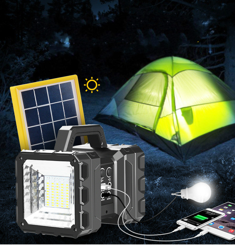 Solar multi-function LED glare flashlight super bright long-range rechargeable outdoor camping portable camping lights