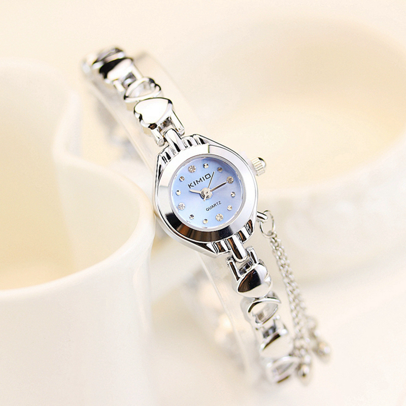 KIMIO Brand Women's Watch Heart Love Band Quartz-watch Ladies Stainless Steel Bracelet Watches Women Watches Female montre femme 2016 women diamond watches steel band vintage bracelet watch high quality ladies quartz watch