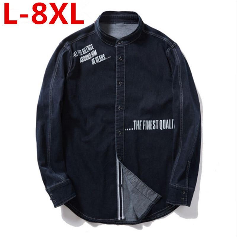 2018 new big plus size 8XL 7XL 6XL 5XL men jean jacket men denim jackets for men stand collar 100% cotton outerwear men big size